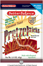 Kay's Naturals Kosher Protein Pretzel Sticks Cinnamon Toast Gluten Free Case Of 6 OU Dairy 1.2 OZ