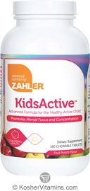 Zahlers Kosher Kids Active Childrens Chewable Fruit Punch Flavor  180 Chewable Tablets