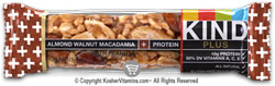 Kind Kosher Plus Protein Bars Almond Walnut And Macadamia OU-Dairy 12 Bars