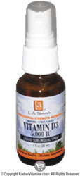 L.A. Naturals Kosher Liquid Spray Vitamin D3 5000 IU Citrus Flavor 2 OZ