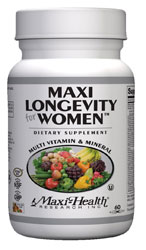 Maxi Health Kosher Maxi Longevity Multi Vitamin & Mineral for Women Over 50 60 MaxiCaps