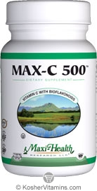 Maxi Health Kosher Max-C 500 Mg (Vitamin C with Bioflavonoids) 100 Tablets