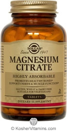 Solgar Kosher Magnesium Citrate 120 Tablets