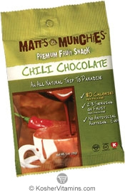 Matt's Munchies Kosher Premium Fruit Snack Chili Chocolate 12 Packets