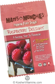 Matt's Munchies Kosher Premium Fruit Snack Raspberry Delight 12 Packets