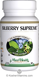Maxi Health Kosher Bilberry Supreme with Lutein 60 Vegetable Capsules