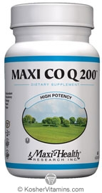 Maxi Health Kosher Maxi Co Q 200 mg. Coenzyme Q-10  60 Maxicaps