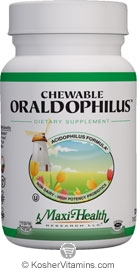 Maxi Health Kosher Chewable Oraldophilus Acidophilus Formula Tropical Flavor 100 Tablets