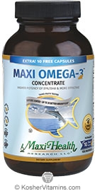 Maxi Health Kosher Maxi Omega-3 Concentrate Fish Oil EPA/DHA NEW & IMPROVED  90 MaxiGels