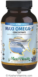 Maxi Health Kosher Maxi Omega-3 Concentrate Fish Oil EPA/DHA + 20 Free NEW & IMPROVED 200 MaxiGels