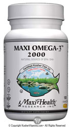 Maxi Health Kosher Maxi Omega-3 2000 Fish Oil EPA/DHA  BUY 1 GET 1 FREE  100 MaxiGels