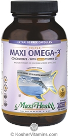 Maxi Health Kosher Triple Maxi Omega-3 Concentrate Fish Oil EPA/DHA with Vitamin D3 1000 IU + 20 Free 180 MaxiGels