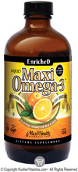 Maxi Health Kosher EnricheD Maxi Omega-3 Liquid Fish Oil with Vitamin E & D3 Orange Burst  BUY 1 GET 1 FREE  12 OZ