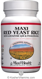Maxi Health Kosher Maxi Red Yeast Rice with Coenzyme Q10 & Policosanol  120 MaxiCaps