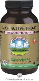 Maxi Health Kosher Active Pro-10 Probiotic Chewable Fruit Punch Flavor 60 Chewies