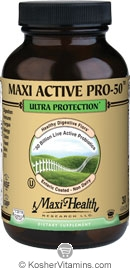Maxi Health Kosher Active Pro-50 Ultra Protection 50 Billion Live Probiotics 60 Maxicaps