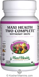 Maxi Health Kosher Maxi Two Complete Multi Vitamin & Mineral without Iron 120 MaxiCaps
