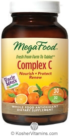 MegaFood Kosher Complex C Whole Food Vitamin C Antioxidant with Uncle Matt's Organic Oranges 30 Tablets