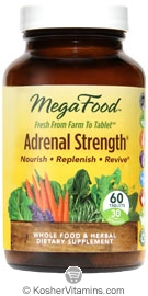 MegaFood Adrenal Strength Vegan Suitable Not Certified Kosher  60 Tablets