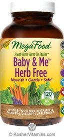MegaFood Kosher Baby & Me Herb Free California Blend Whole Food Prenatal Multivitamin & Mineral 120 Tablets