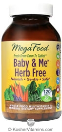 MegaFood Kosher Baby & Me Herb Free Whole Food Prenatal Multivitamin & Mineral  120 Tablets
