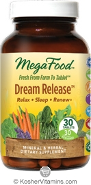 MegaFood Kosher Dream Release Relax, Sleep & Renew 30 Tablets