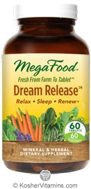 MegaFood Kosher Dream Release Relax, Sleep & Renew 60 Tablets