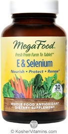 MegaFood Kosher E & Selenium Whole Food Vitamin E Antioxidant 30 Tablets