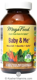 MegaFood Kosher Baby & Me Whole Food Prenatal Multivitamin & Mineral 120 Tablets