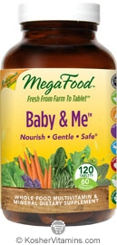 MegaFood Kosher Baby & Me California Blend Whole Food Prenatal Multivitamin & Mineral  120 Tablets