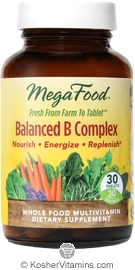 MegaFood Kosher Balanced B Complex  30 Tablets