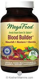 MegaFood Kosher Blood Builder Whole Food Iron Supplement with Stahlbush Island Farm Beet Root NEW & IMPROVED 60 Tablets