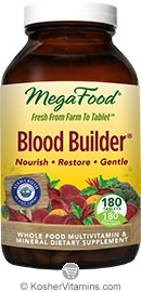 MegaFood Kosher Blood Builder Whole Food Iron Supplement with Stahlbush Island Farm Beet Root NEW & IMPROVED 180 Tablets