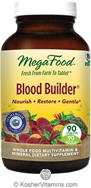 MegaFood Kosher Blood Builder Whole Food Iron Supplement with Stahlbush Island Farm Beet Root NEW & IMPROVED 90 Tablets