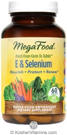 MegaFood Kosher E & Selenium Whole Food Vitamin E Antioxidant 60 Tablets