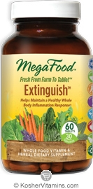 MegaFood Extinguish (Helps Maintain a Healthy Whole Body Inflammation Response) Vegetarian Suitable Not Certified Kosher  120 Tablets