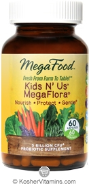 MegaFood Kids N' Us Megaflora 5 Billion CFU Probiotic Vegetarian Suitable Not Certified Kosher  60 Capsules