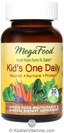 MegaFood Kosher Kids One Daily Whole Food Multivitamin & Mineral 30 Tablets
