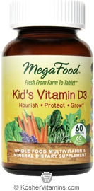 MegaFood Kosher Kid's Vitamin D3 600 IU 60 Tablets