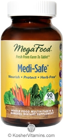 MegaFood Kosher Medi-Safe Whole Food Multivitamin & Mineral 90 Tablets
