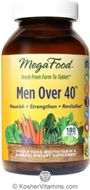 MegaFood Kosher Men Over 40 Whole Food Multivitamin & Mineral 180 Tablets