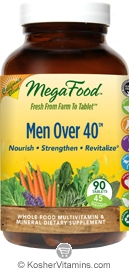 MegaFood Men Over 40 California Blend Whole Food Multivitamin & Mineral Vegetarian Suitable Not Certified Kosher  90 Tablets