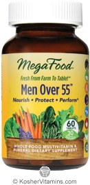MegaFood Kosher Men Over 55 Whole Food Multivitamin & Mineral  60 Tablets
