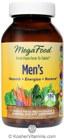 MegaFood Kosher Men's Whole Food Multivitamin & Mineral 180 Tablets