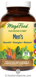 MegaFood Men's California Blend Whole Food Multivitamin & Mineral Vegetarian Suitable Not Certified Kosher 90 Tablets