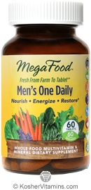 MegaFood Kosher Men's One Daily Whole Food Multivitamin & Mineral 60 Tablets