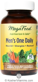 MegaFood Kosher Men's One Daily Whole Food Multivitamin & Mineral 90 Tablets