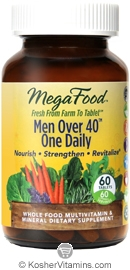 MegaFood Kosher Men Over 40 One Daily Whole Food Multivitamin & Mineral 60 Tablets