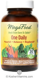 MegaFood Kosher One Daily Whole Food Multivitamin & Mineral 30 Tablets