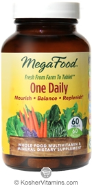 MegaFood Kosher One Daily Whole Food Multivitamin & Mineral 60 Tablets